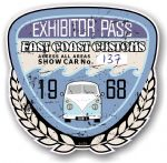 Aged Vintage 1968 Dated Car Show Exhibitor Pass Design Vinyl Car sticker decal  89x87mm